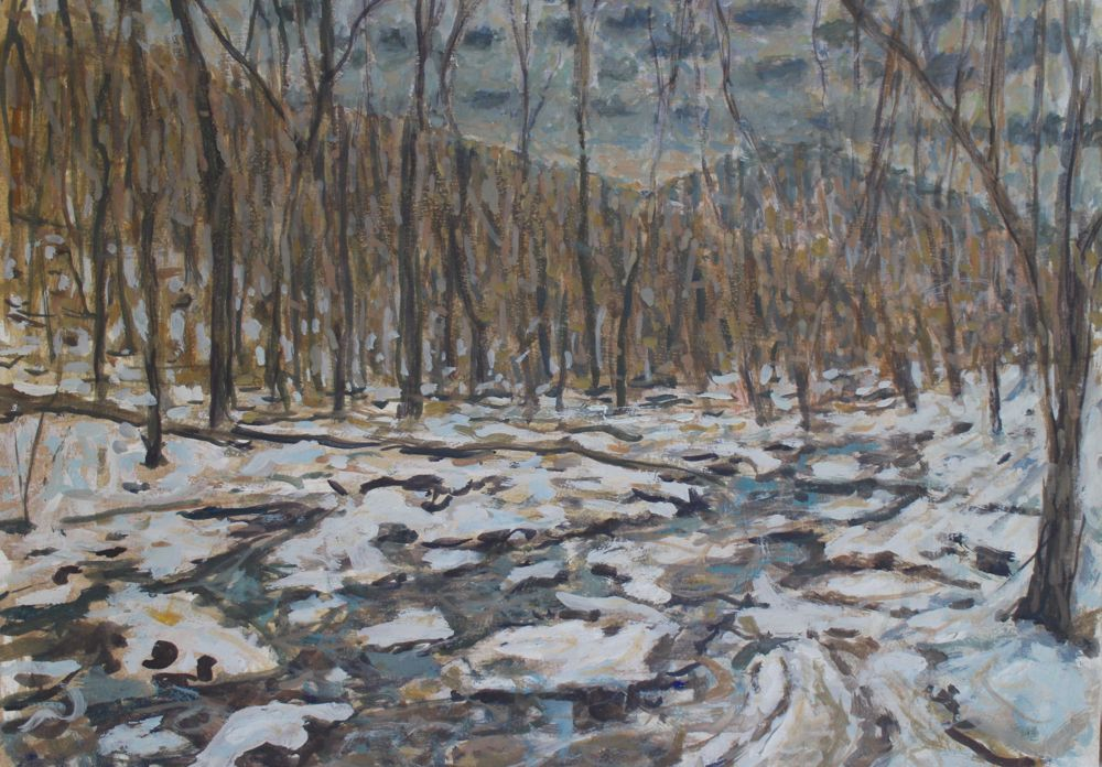 Appalachian Trail in Winter II, egg oil emulsion on wood panel, 12 x 16.5 inches